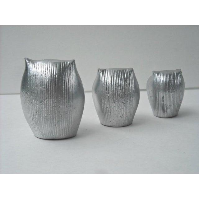 Mid-Century Silver Owl Figurines - Set of 3 - Image 5 of 5