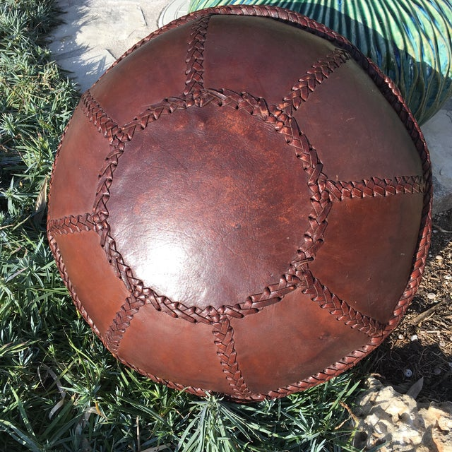 Vintage Bohemian Hand Stitched Leather Floor Pillow - Image 10 of 11