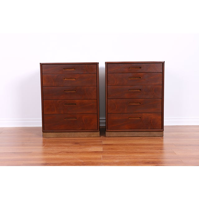 Image of Mid Century Walnut Chests for Dunbar - Pair