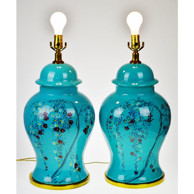 Vintage Large Scale Aquamarine Blue Hand Painted Asian Ginger Jar Lamps - A Pair - Image 11 of 11