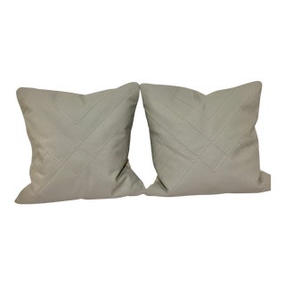 Grey Leather Pillows - A Pair