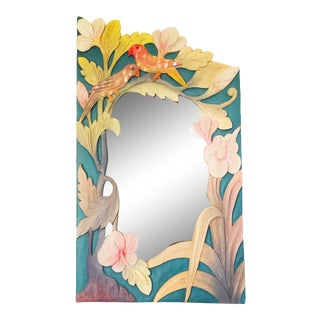 Vintage Tropical Bird Carved Wood Mirror