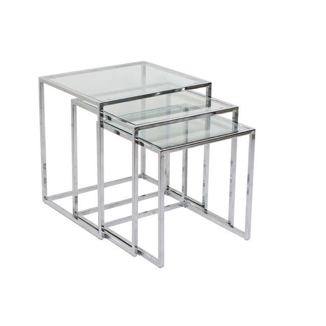 Milo Baughman Chrome Nesting Tables - Set of 3 - Image 1 of 4