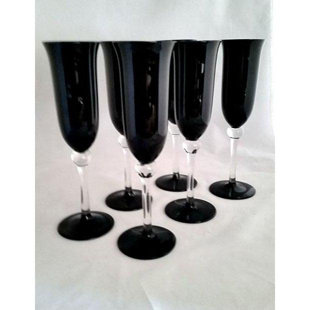 Black Crystal Champagne Flutes - Set of 6 - Image 3 of 6