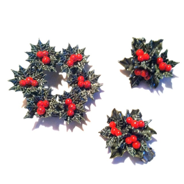 Image of Holly Leaf and Berry Brooch and Earrings 1950s