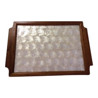 Vintage Gump's Capiz Shell & Wood Tray