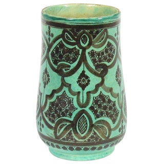 Vintage Moroccan Turquoise Pottery Vessel