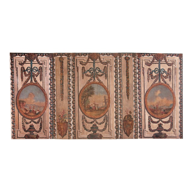 A Set of Five Large Hand-Painted Trompe l'Oeil Wall Panels - Image 11 of 11