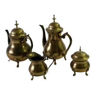 Mid-Century Four-Piece Brass Tea Serving Set