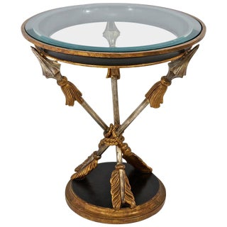 19th Century Style Round Occasional Table with Crossed-Arrow Motif, Gold and Silver Leaf, Italy