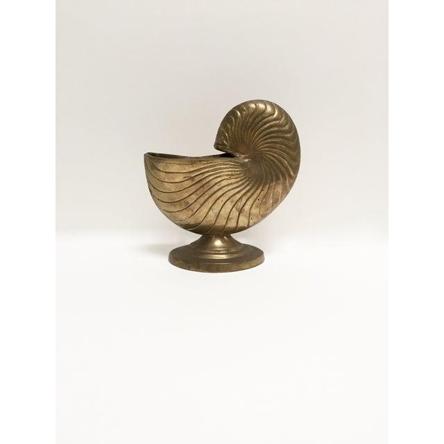 Vintage Brass Nautilus Shell Planter - Image 2 of 9