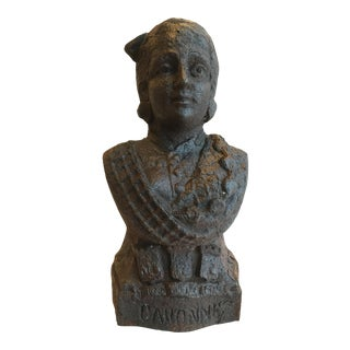 Antique French Cast Iron Lady Bust Fragment