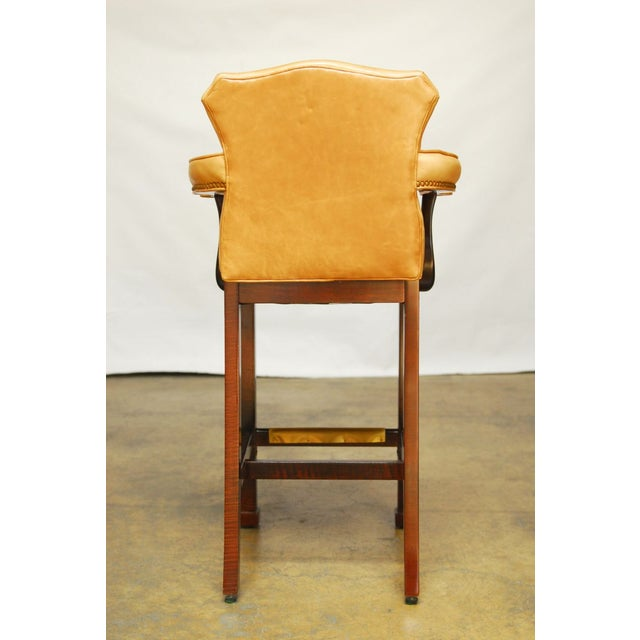 French Leather Moustache Bar Stools - Pair - Image 7 of 7