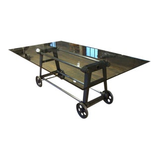 Vintage Industrial Cast Iron, Steel, Glass Dining Conference Table on Wheels