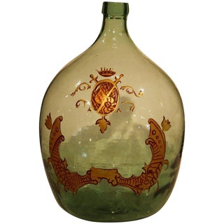Large Handblown Demijohn Glass Bottle from France with Painted Coat of Arms