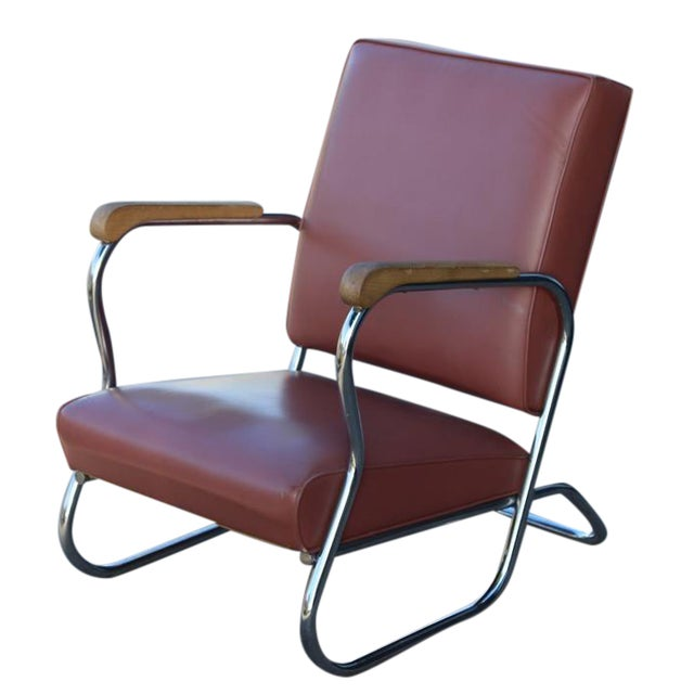 Postmodern Deco Style Chrome Lounge Chair in Mauve - Image 1 of 9