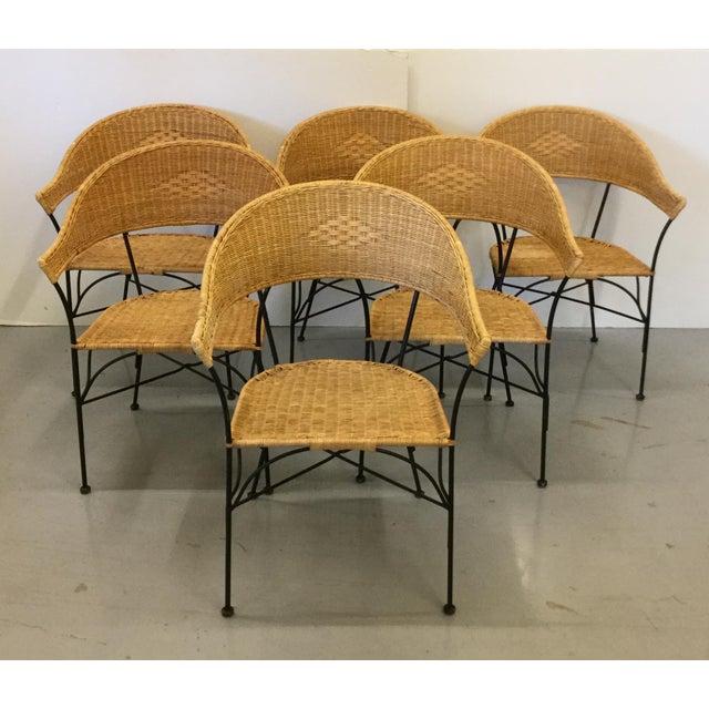 umanoff style mid century modern rattan iron chairs s 6 chairish