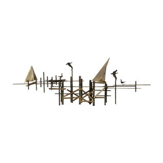 """Large Scale """"The Pier"""" Brass Sculpture by C. Jere"""