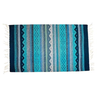 Blue Wool Mexican Rug - 2' x 3'3""