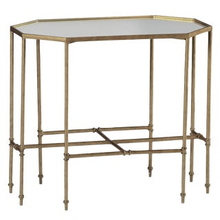 "Gabby Home ""Barnes"" Brass Gold Eglomise Mirrored Side Table"