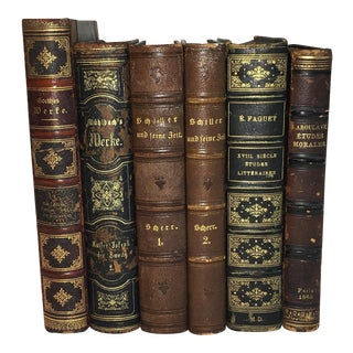 Antique Leather Foreign Language Books - Set of 6