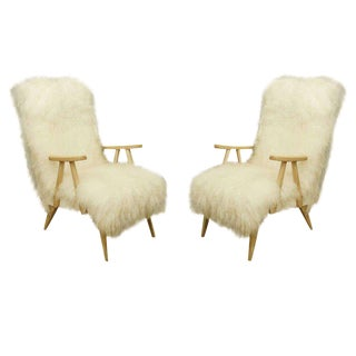 Pair of Mid-Century Parchment Covered Open Arm Chairs
