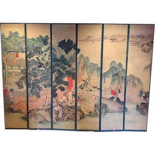 Antique Chinese Folding Screen Chinoiserie Room Divider