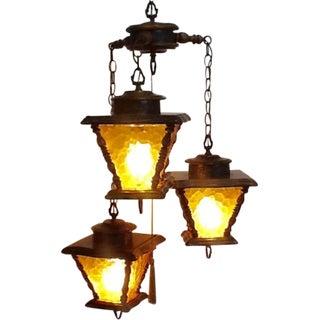 Mid-Century 3-Lantern Swag Lamp