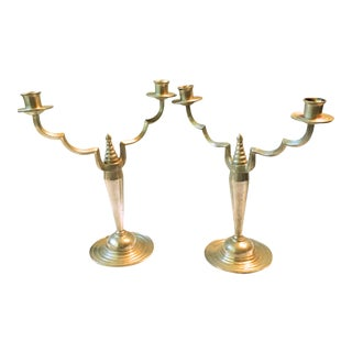 Art Deco Pewter Candlesticks - A Pair