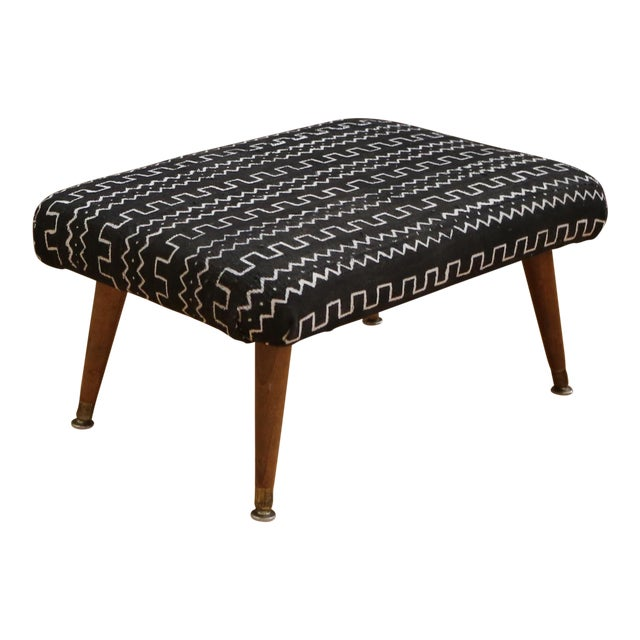 Mid-Century Modern Authentic African Mud Cloth From Mali Footstool - Image 1 of 7