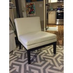 Image of West Elm Ivory Leather Slipper Chair