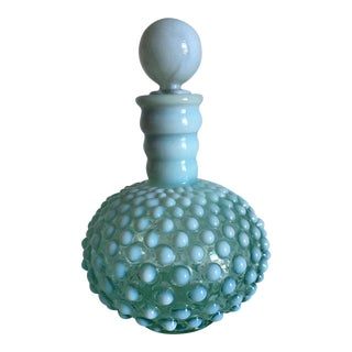 Antique Hobnail Pressed Green Glass Bottle With Stopper