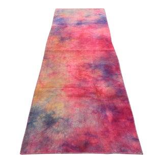 Vintage Turkish Tie Dyed Hot Pink Oushak Curtain Kilim Runner- 3′ × 9′9″