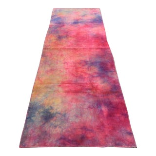 Vintage Turkish Tie Dyed Hot Pink Oushak Curtain Kilim Runner- 3′ × 9′9″