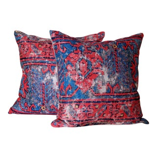 Turkish Red Distressed Print Pillow Covers - a Pair