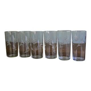 Vintage Tall Etched Crystal Glasses - Set of 6