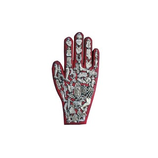 Mexican Folk Art Red Wooden Hand