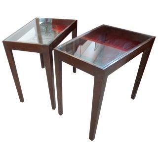 Edward Wormley Dunbar Glass Top Wedge Table - Pair