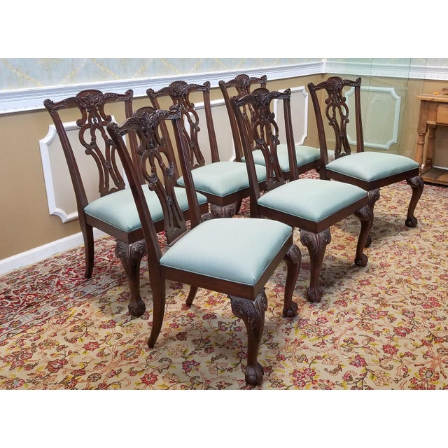 Ethan Allen Mahogany Chippendale Style Chauncey Dining Room Side Chairs - Set Of 6