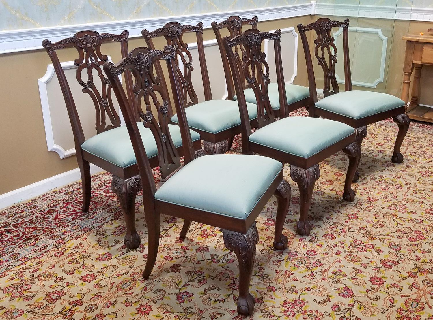 Ethan Allen Mahogany Chippendale Style Chauncey Dining Room Side Chairs    Set Of 6   Image