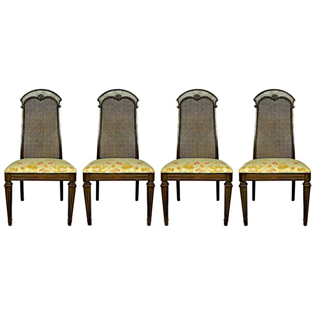 Wicker High Back Wooden Chairs- Set of 4 - Image 1 of 6