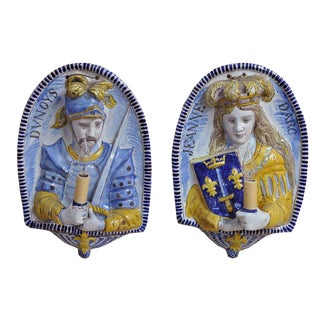 19th Century French Joan of Arc & Duc d'Orleans Faience Sconces - A Pair