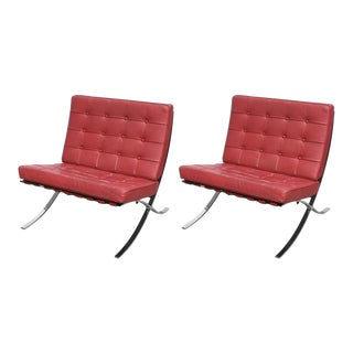 Pair of Red Barcelona Chairs in Chrome and Leather, 1960s, USA