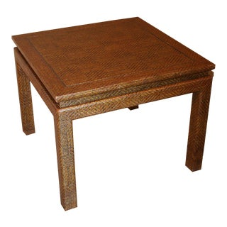 Bronze Inlay Raffia Tables - A Pair