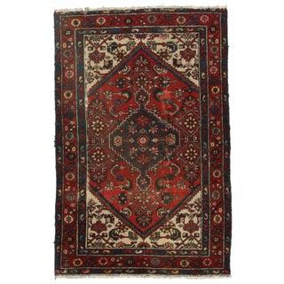 Hand-Knotted Wool Persian Hamedan - 4′ × 6′2″