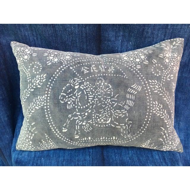 Image of Gray Chinese Warrior Batik Pillow