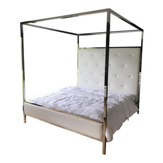 Modern Steel White Leather Four Post King Bed