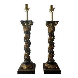 Italian Regency Black Lacquer Column Lamps - A Pair