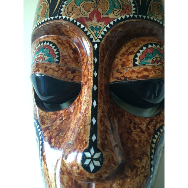 Image of Bali Tribal Mask With Mother of Pearl Inlay