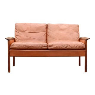 Hans Olsen Leather and Rosewood Loveseat